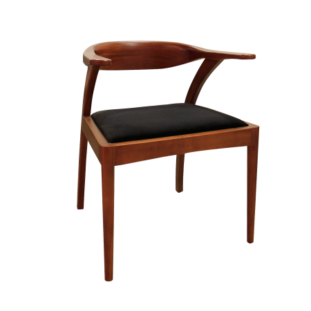 C22 Brace Dining Chair - Mahogany+Fabric