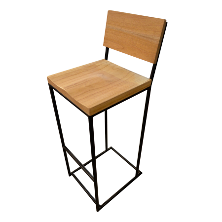 C47A Industrial Bar Chair 2 Brown - Teak