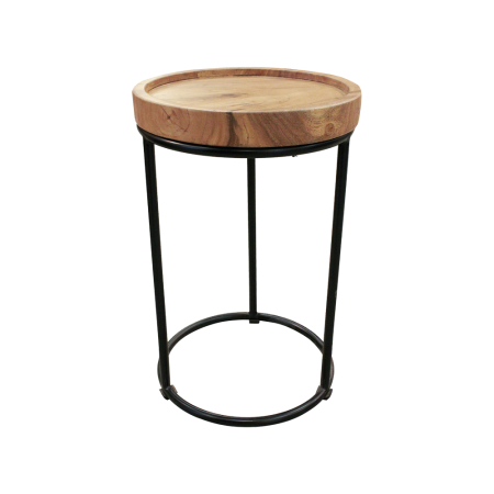 T30 Round Industrial Side Table - Teak d40