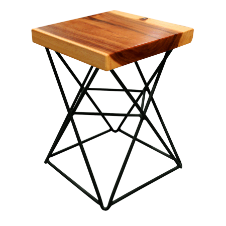 S14 Square Stool A - Metal Base