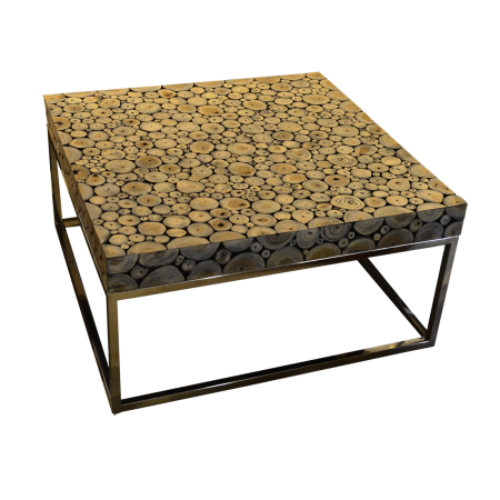 T55 Round Wood Mosaic Coffee Table A
