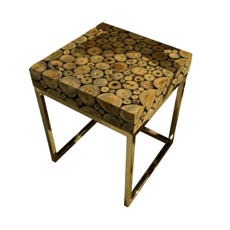 T56 Round Wood Mosaic Coffee Table B